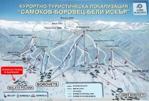 Курортно-туристическая карта Боровец